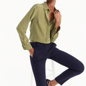 J crew green silk button up shirt new flaw